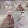 2014 New Arrival Cute Lovely A Line Cap Sleeve Long Handmade Formal Roses Flower Kids Wear Girl's Pageant Dress JFD053