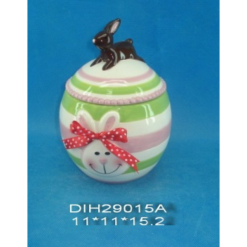 Hand-Painted Ceramic Sweet Jar with Ribbon Decoration