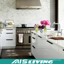 Europe Style White Lacquer Kitchen Cabinets Furniture with Handle (AIS-K335)