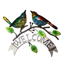 "Multicoloured Metal ""Welcome"" Love Couple Bird Wall Art Decoration"
