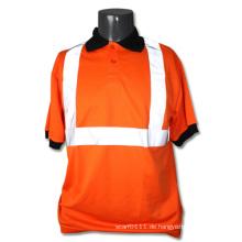 Reflektierendes Streifen-orange Polyester-hohes Sichtschutz-Sicherheits-Polo-T-Shirt (YKY2818)