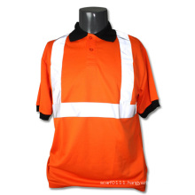 Reflective Strip Orange Polyester High Visibility Safety Polo T-Shirt (YKY2818)