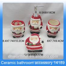 Vente en gros accessoires de salle de bains en céramique 4 pièces Accessoire de salle de bain en bois