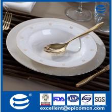 Vente en gros d'assiettes en dentelle dorée en or osseuse, en gros assortiment de dinde chinoise en or