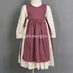 Boutique cotton floral polka dots girl dress