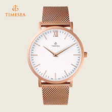 Simples design personalizado logotipo pulseira de malha relógio de pulso para homens 72340