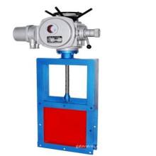 Válvula de puerta eléctrica del cuchillo del acero de carbono del puerto cuadrado de la operación