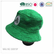 Green Cotton Towel Terry Embroidery Bucket Hat