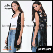 Fashion Sleeveless Fringe Handknitted Cardigan for Women