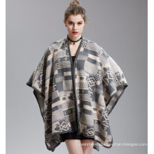 Womens Cashmere Feel Alike Fancy Checked Cape Stole Poncho Shawl (SP292)