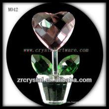 K9 flor en forma de corazón de cristal