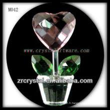 Fleur en forme de coeur en cristal K9