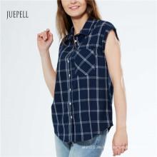Grid Print Baumwoll Damen Shirt
