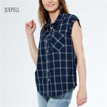 Grid Print Cotton Women Shirt