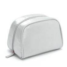 Lady Fashion Silver Satin PU Cosmetic Toiletry Wash Bag (YKY7517)