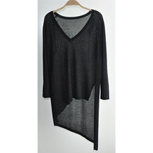 V-Neck Long Sleeve Pure Color Knit Sweater for Ladies