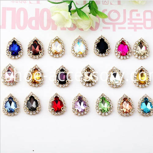 Sew-On Rhinestones Setting Pear Shape color standard