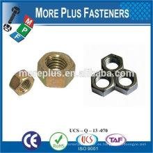Taiwán Acero inoxidable 18-8 Cobre Latón Aluminio Latón Ansi B18.2.2 Tuerca hexagonal Tuerca hexagonal M8 DIN934 Tuerca hembra hexagonal