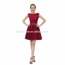 2017 Factory Price Cumtomized Red Wine Lace Evening Dress