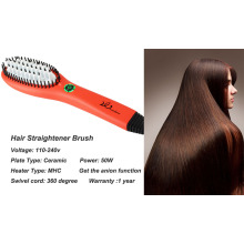 Hair Straightening Ion Brush In Red