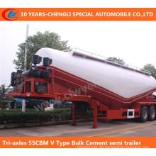 Tri-Achsen 55cbm V-Art Massen-Zement-halb Anhänger