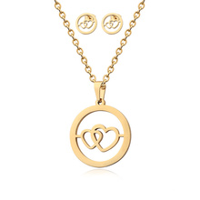 Cheap Stainless Steel Goldplated Round Hollow Double Heart Connected Necklace And Earrings Jewelry Set