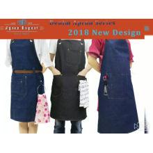 2018KEFEI denim avental, avental de couro, avental jeans