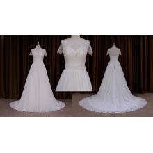 Motifs de robe de mariée en mousseline de soie à manches courtes 2016