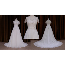 High Quality Short Sleeve Chiffon Wedding Dress