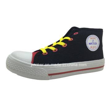 Sapatos de lona de injeção de estilo popular alta tornozelo crianças (X172-S & B)