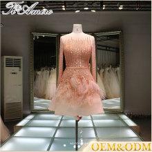 Chine tenue à la main à manches longues mini jupe sequin applique robe de mariée demoiselle d'honneur