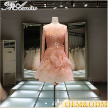 China custom made long sleeve mini skirt sequin applique bridesmaid wedding dress