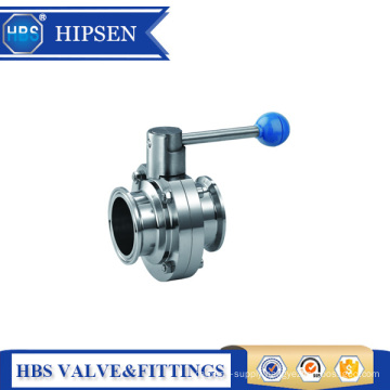 Food grade stainless steel clamp sanitary butterfly valve