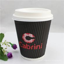Copo de papel quente descartável do café 9oz com tampas