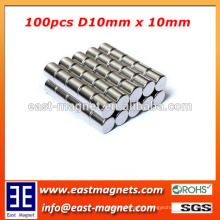 D10*10mm rod ndfeb magnet for sale/N35~N52 neodymium magnet for sale