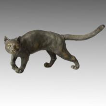 Animal estatua Cat caminando escultura de bronce, Milo Tpal-050