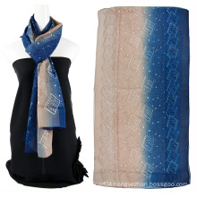 Two tone color emboidery silk scarf with Sequins