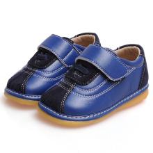 Navy Suede Baby Boy Shoes Calçado de couro genuíno