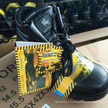 Chaussures de travail Chaussures de sécurité en cuir (PU en cuir supérieure + caoutchouc)