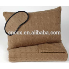 16JW685 cashmere portable cabled travel set blanket eyemask and pillow