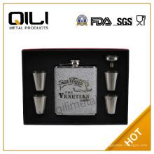 FDA 6 унций кожа фляга набор новизна подарки с Кубка, воронка