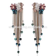 Été vente chaude nouvelle perle populaire extra longue perle rhinestone pendent boucles d'oreilles