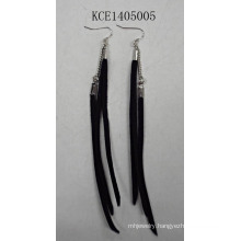 Fabric Black Earring with Metal Tassel