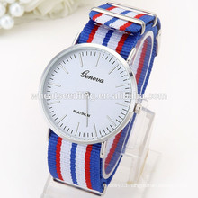 2015 geneva design fabric band handmade sports watch