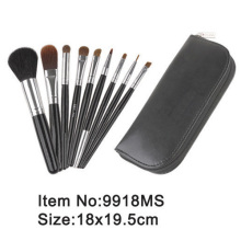 9pcs black wood handle goat hair makeup brush with PU zipper case
