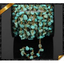 Venta al por mayor de turquesa natural Chip perlas cadena, Cooper Rosario cadena (JD002)
