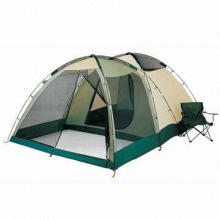 Canvas Camping Tent with 190T Breathable Fabric Inner Tent with Part Mesh Doors, Flexible Int