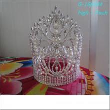 El desfile grande de la perla de la manera al por mayor corona las tiaras a granel llenas llenas del desfile del rhinestone