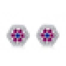 Women′s Fashion 925 Sterling Silver Geometric-Shaped Inlaid Crystal Five Flowers Earrings