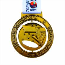 Antique gold metal spin aeroespacial medal